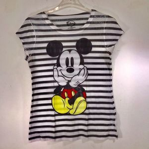 Disney's Mickey Mouse Burnout Stripped T-Shirt